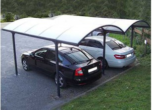 DOUBLE CARPORT ALU ET POLYCARBONATE 4.85 x 6.00 M