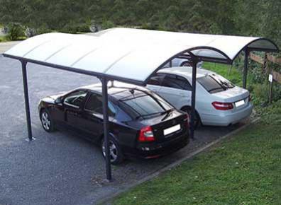 DOUBLE CARPORT ALU ET POLYCARBONATE 4.85 x 6.00 M