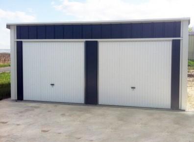 garage double en metal 6x5m un garage une pente et une couverture en acier galvanis. Black Bedroom Furniture Sets. Home Design Ideas