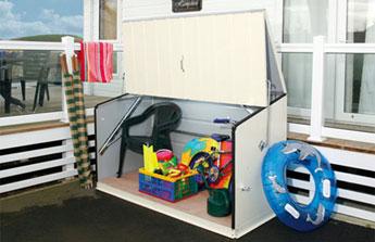 Coffre de rangement pour jardin, camping et mobile home