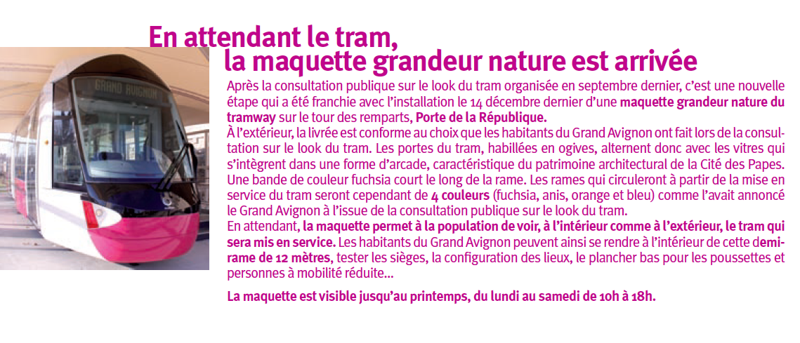 Article maquette grandeur nature rame tramway