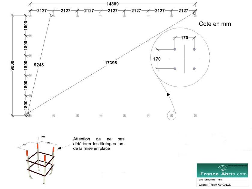 Plan d'implantation de l'abri en toile tendue PVC