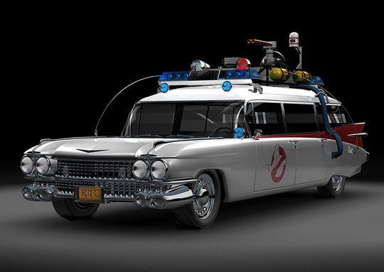 Voiture Cadillac-Ecto-1 vue dans le film SOS Fantômes