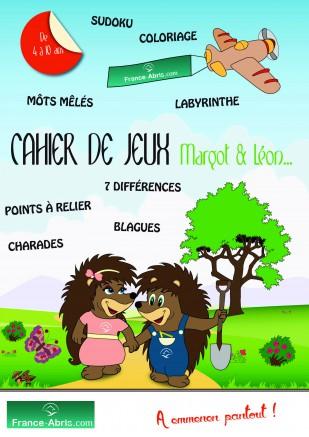 Couverture cahier de jeux offert par France Abris