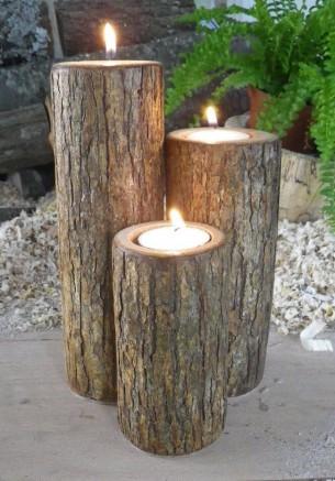 Des bougeoirs avec du bois