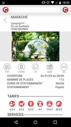 Aperçu de l'application mobile : fiche du camping Marache Caramaps