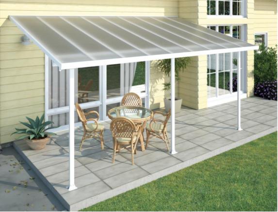 Toit terrasse en aluminium blanc et polycarbonate
