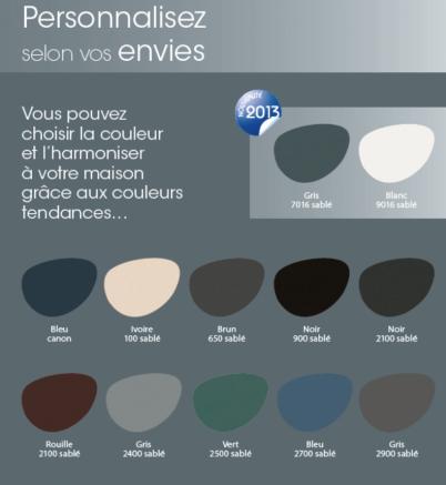 Nuancier de couleurs pour carport en aluminium