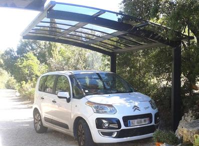 Carport en aluminium 2 pieds, moderne et pratique !