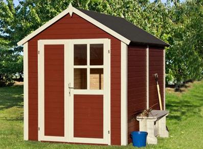 abri de jardin rouge en bois peint