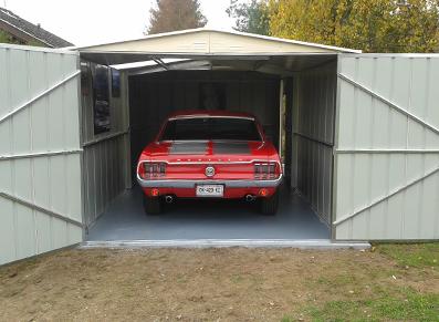 Mustang voiture garage métallique vert colorbond