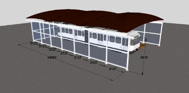 Le plan de l'abri pro d'exposition pour le tramway d'Avignon, qui deviendra abri pour une station de lavage professionnelle.
