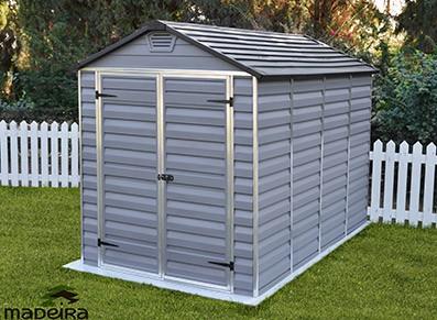Abri jardin résine PVC avec skylight et puit de lumière