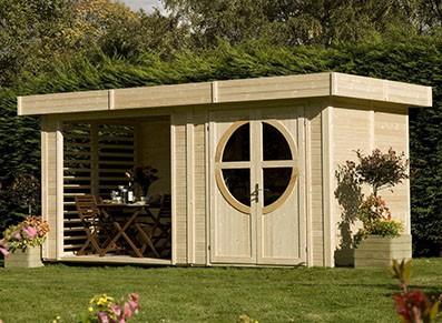 abri bois design et toit plat deux pices - Cabanes De Jardin Originales
