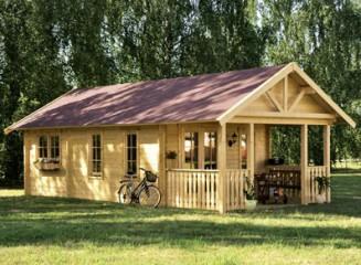Chalet bois toit double pente avec terrasse/balcon intégré