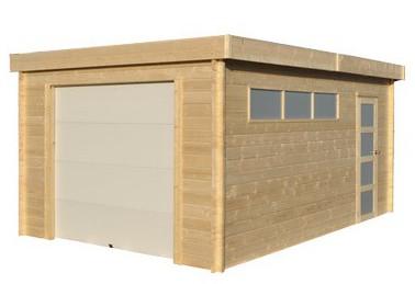Porte sectionnelle d'un abri garage en bois à toit plat