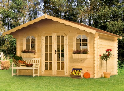 Abri de jardin ou chalet bois avec toit double pente
