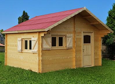 Chalet bois et abri de jardin bois avec madriers pour vivre à l'intérieur