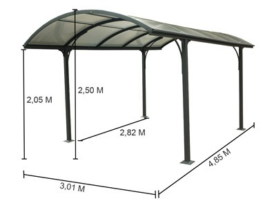 L'abri voiture est adapté pour être un abri auvent métal