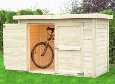 Un abri vélos et coffre à installer sous un abri voiture bois par exemple
