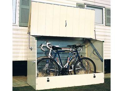 Coffre à vélo en acier galvanisé avec ouverture verticale à installer sous un carport métal
