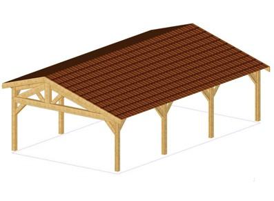 Une ossature bois au toit asymétrique à utiliser en carport triple ou grand espace de stockage