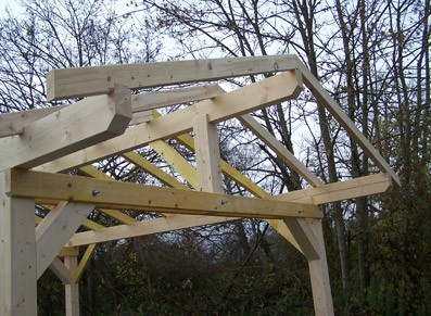 S'aménager un carport au jardin grâce à l'ossature bois Douglas