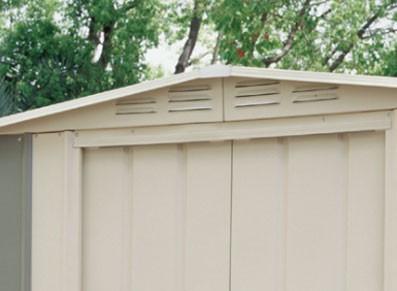 Abri métal de taille réduite avec aération et toit deux pentes