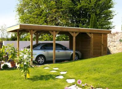carport bois avec atelier