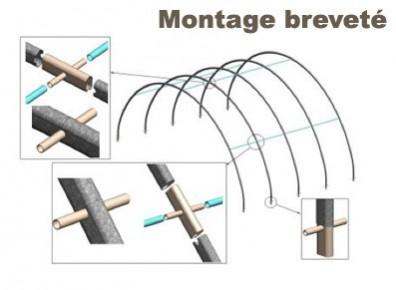 Montage breveté = simplification du montage de votre tunnel de stockage en toile PVC dédié à accueillir un camping-car ou une caravane
