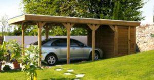 abri carport avec atelier en bois
