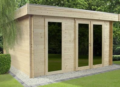 Bureau ? Chambre d'amis ? Salle de jeux ? Quelle utilisation pour ce chalet de jardin en bois à toit plat et très design ?