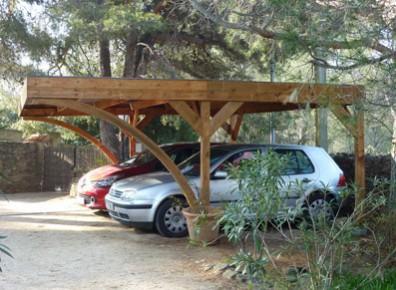 abri pour deux voiture en bois