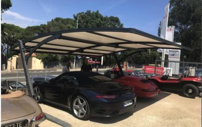 ombriere de parking double pour deux voitures