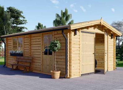 Ce garage en madriers de bois