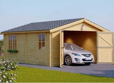 garage en madriers de bois