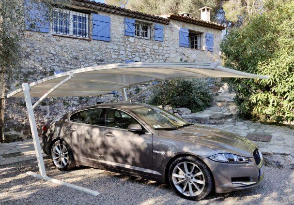 couvert à voiture métallique avec toile PVC