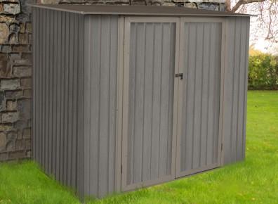 La solidité du métal, l'aspect design du bois, voici un bel abri de jardin