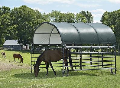 Abri souple pour chevaux, un tunnel en toile à prix réduit !