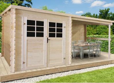 Profitez d'un chalet de jardin en bois et d'une terrasse couverte !