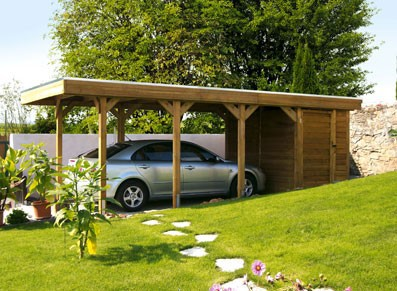 abri voiture en bois avec remise intégrée