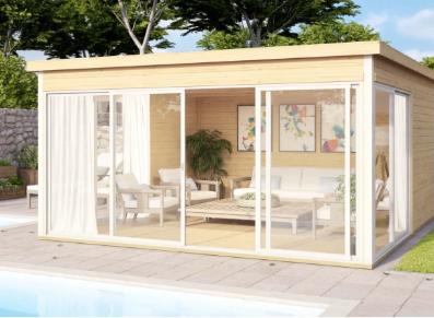 Espace de vie au jardin crée grâce à un abri de jardin en bois premium
