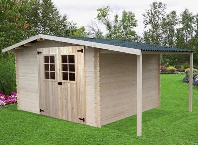 cabane bois toit deux pans