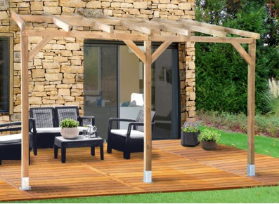 ossature d'abri terrasse en bois autoclave