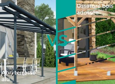 LE MATCH : abri terrasse métallique ou ossature bois adossée ?