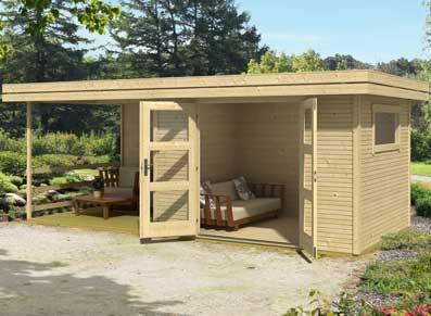poolhouse avec auvent en bois