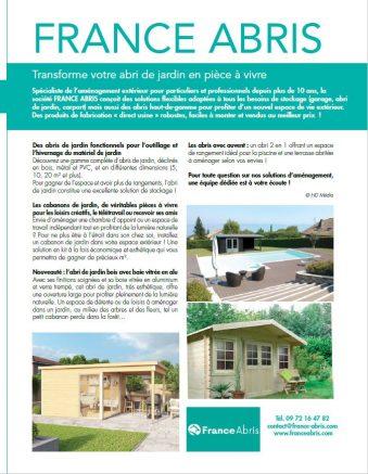 Maison & Jardin parle de FRANCE ABRIS et des chalets bois