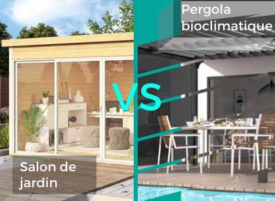 LE MATCH : pergola bioclimatique VS salon de jardin bois