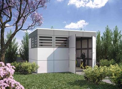 Le style cubique unique d'un chalet de jardin en bois composite