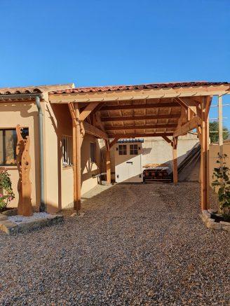 Carport bois Douglas toit bi-pente + abri de stockage